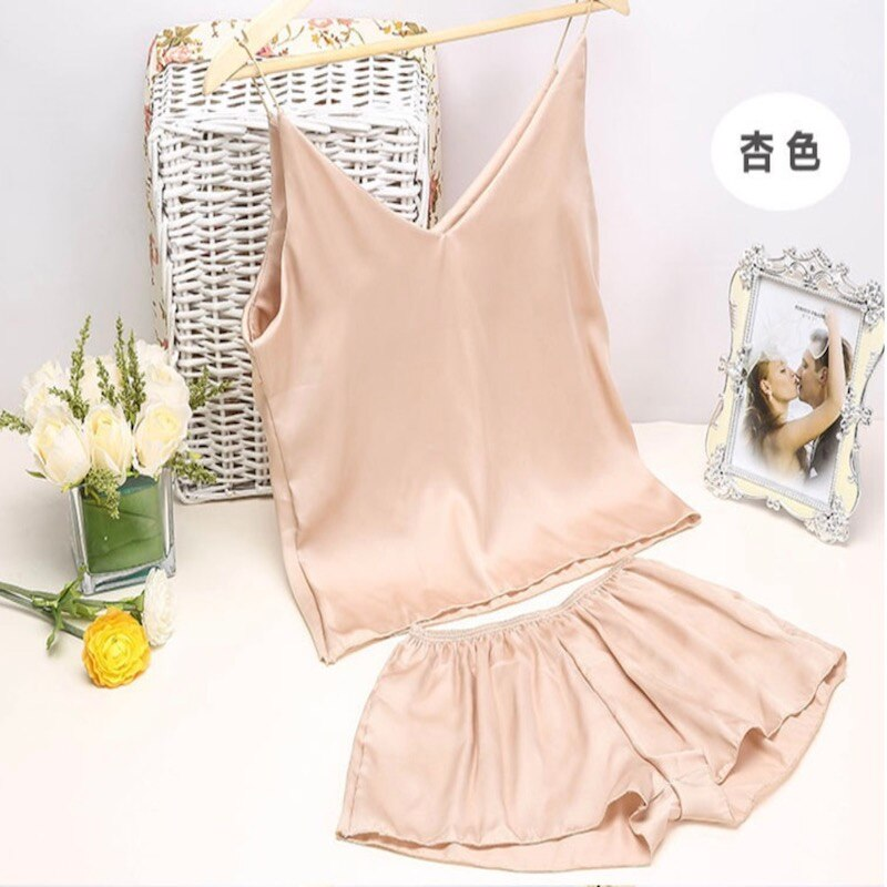 Sexy sleepwear conjunto sling sleepwear lingerie sleepwear topos de cor pura roupa interior e shorts