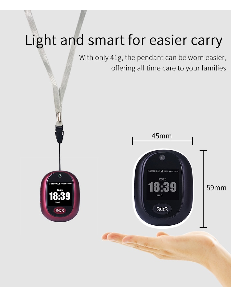 4G+wifi+GPS Smart Tracking Pendant Audio Call IP67 Waterproof Clear Photo Capture Multi-ways Tracking People Position Tracker enlarge