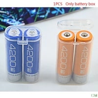 1pc 18650 battery portable waterproof clear holder storage box transparent plastic safety case for 2 sections 18650 wholesale