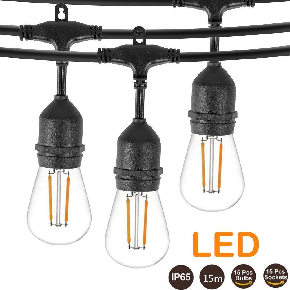 IP65 15 м 15 лампочек светодиодная S14 гирлянсветильник E27 светодиодная лампа Эдисона сказосветильник гирлянда s Уличная гирлянда свет праздничн...