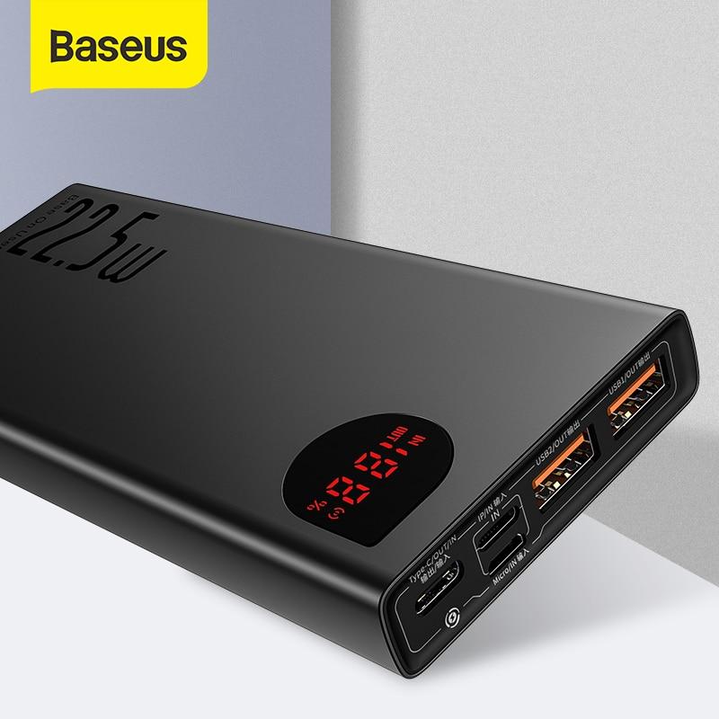 Baseus Power Bank 20000mAh 22.5W/65W Portable Battery Charger Powerbank Type C USB Fast Charger Powe