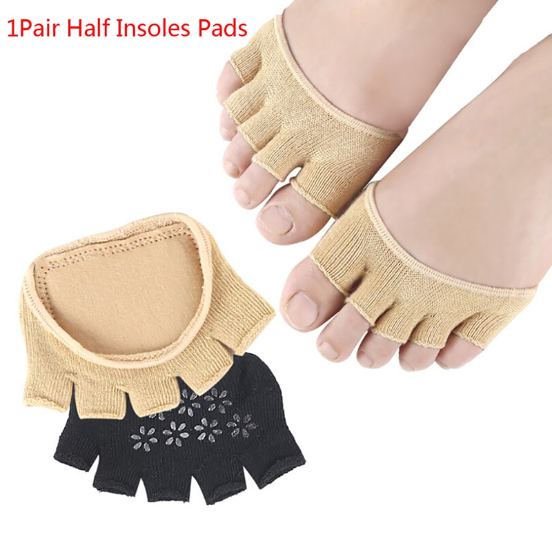 1Pair Half Insoles Pads Foot Care Insoles Cotton Forefoot Pain Relief Massaging Gel Metatarsal Toe S