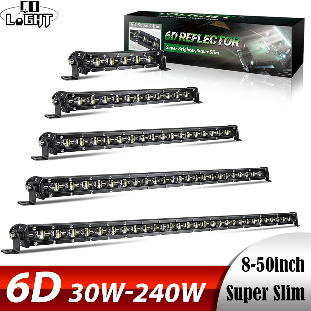 CO LIGHT 6D 30W 60W 90W 120W 150W 180W 210W 240W Barra de luz LED de obra Offroad Led faros de trabajo 12V 24V Led Bar para Niva 4X4 ATV SUV