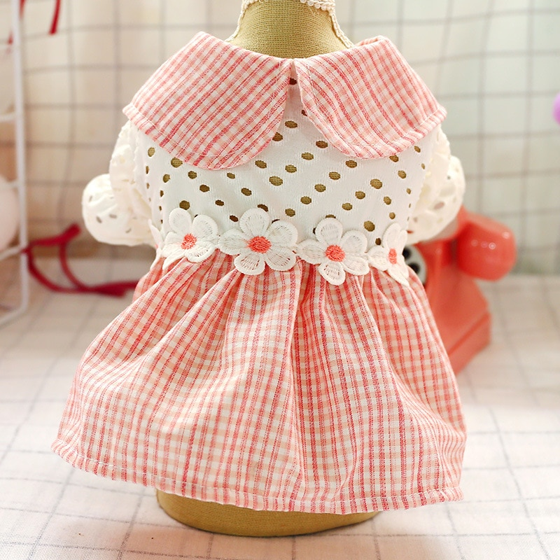 Pink Princess Dog Summer Dresses Hollow Out Floral Medium Small Dog Pet Clothing Cats Wedding Dress Clothes for Puppy Skirt