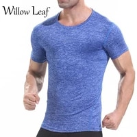 willow leaf fashion new mens running t shirts quick dry compression sport short sleevesmale breathable sportswear gym tops
