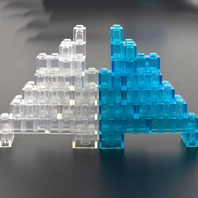 Transparent Thick Brick Model DIY Building Block Clear Brick 1x1 1x2 1x4 MOC Construction Compatible All Brands Toys