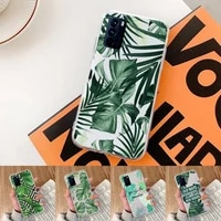green plant leaf accessories phone case transparent for oppo realme find v x q 2 3 5 7 11 50 gt q2 pro plus moible bag