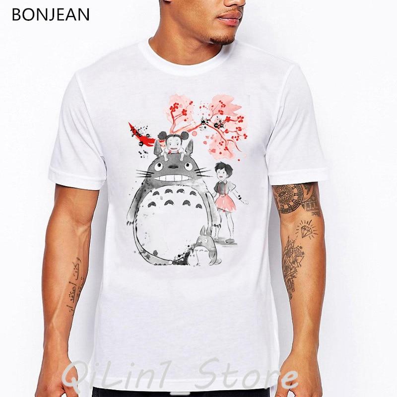 Anime japonês t camisa harajuku kawaii totoro sem rosto imprimir espírito longe miyazaki hayao camiseta masculina vintage engraçado tshirt mme topos