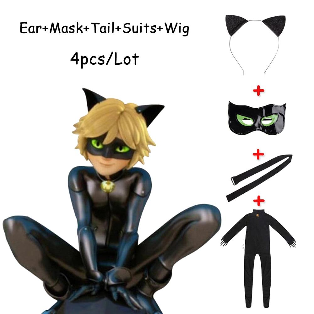 Disfraz de Halloween para mujer, disfraz de gato negro, juegos de máscaras para niños, adultos, niñas, traje de Marinette Little Beetle