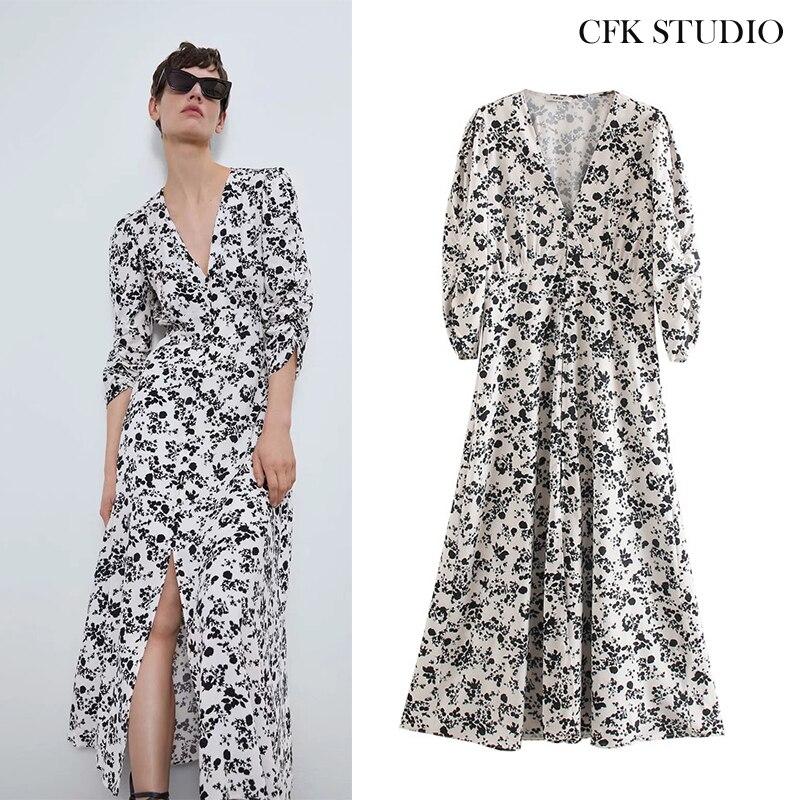 Za 2020 New Summer Women Mididress with v-neck Floral Print Ruffles Long Sleeve Elegant Dress Femme Loose Midi Dress Ves