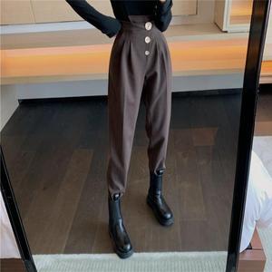 Winter High Waist Female Suit Pants 2020 Streetwear Ladies Loose Trousers Casual Thick Women Floor-length Harem Pants