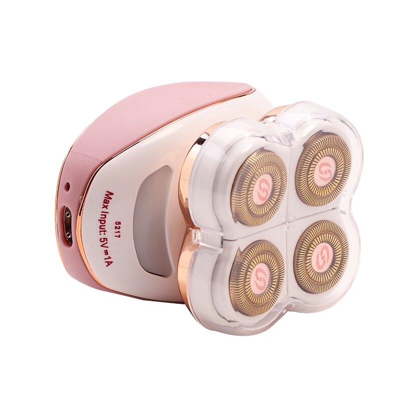 Depiladora recargable Usb para mujer, afeitadora de cuatro cabezas, removedor eléctrico de afeitadora de 360 grados