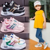 2021 spring and autumn new leather shoes childrens soft bottom mesh shoes girls breathable running boy shoes kids fashion
