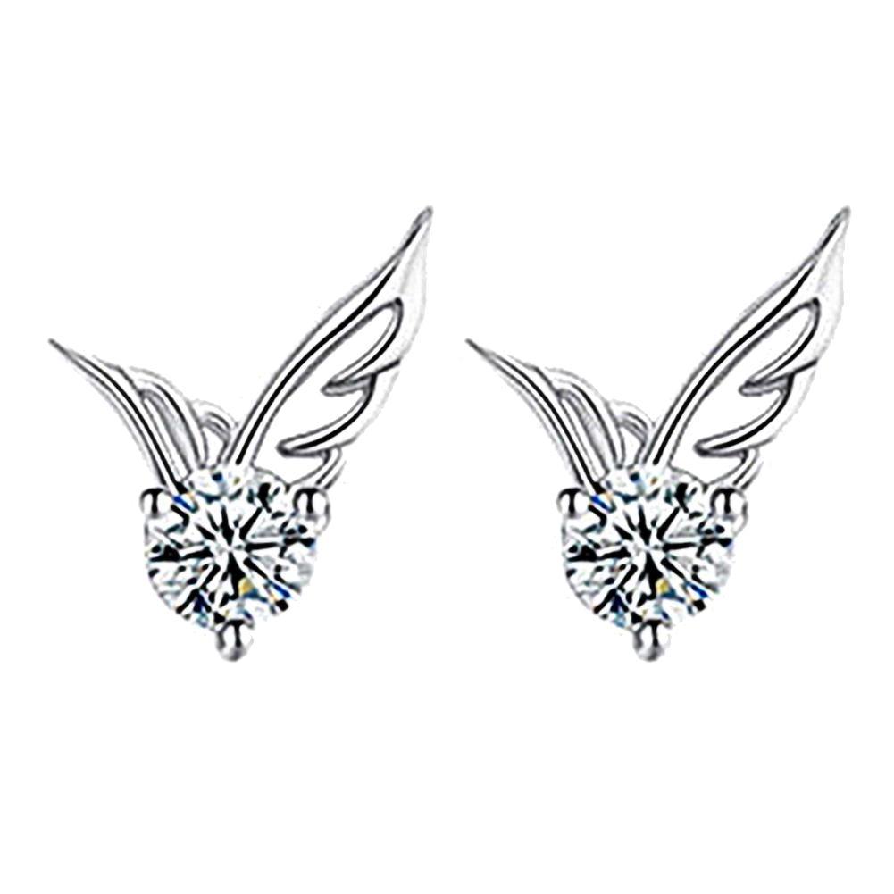 Top luxe marque de mode 1 paire femmes boucles doreilles femmes argent plaqué bijoux ange aile éblouissante strass boucles doreilles cadeaux