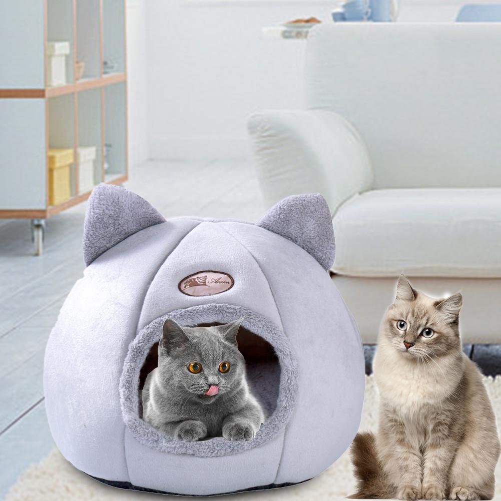 Cama de perro plegable para gatos, caseta de invierno, nido cálido, almohadilla...