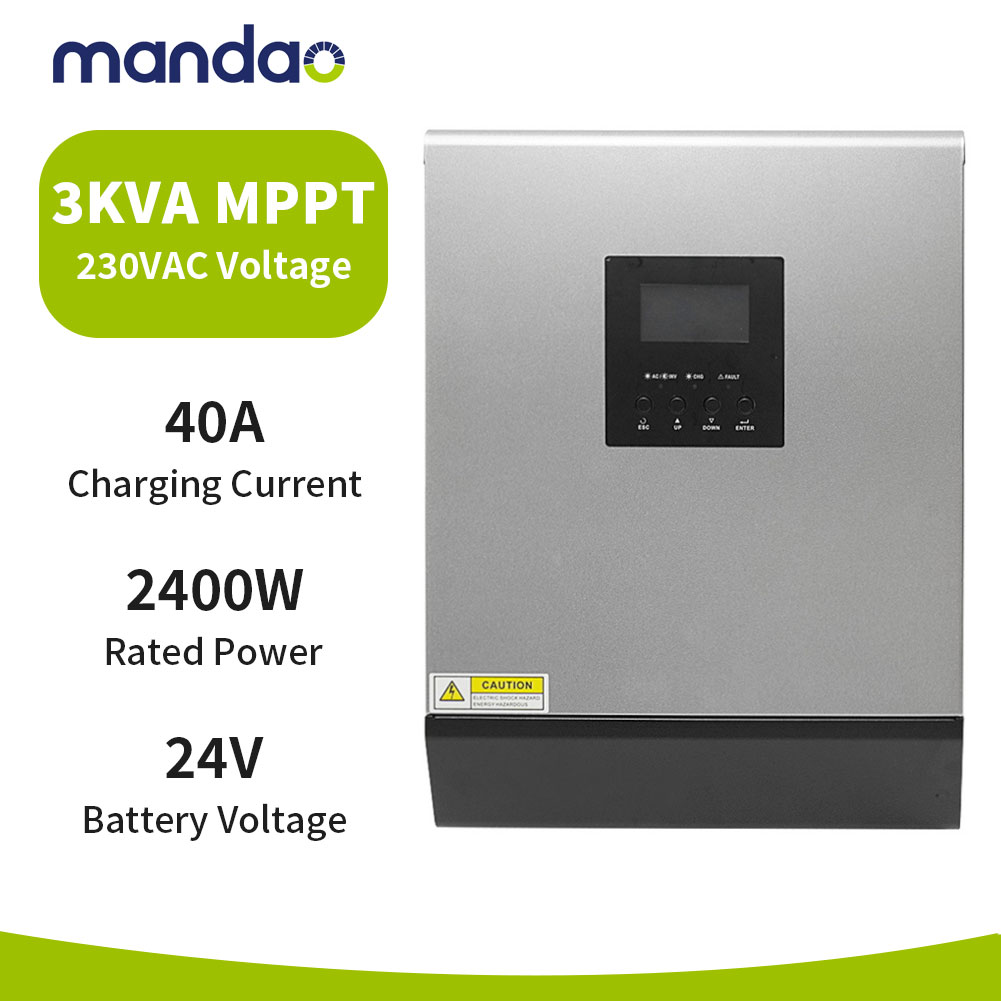 MADOUD-inversor híbrido de energía Solar, 3kva, 2400w, MPPT, 40A, 220v/230v/300W, onda sinusoidal pura