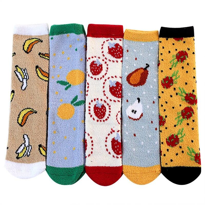 Утолщенные бархатные носки кораллового цвета, носки для сна, домашние носки, милые носки, хлопковые носки с принтом, зимние носки, забавные