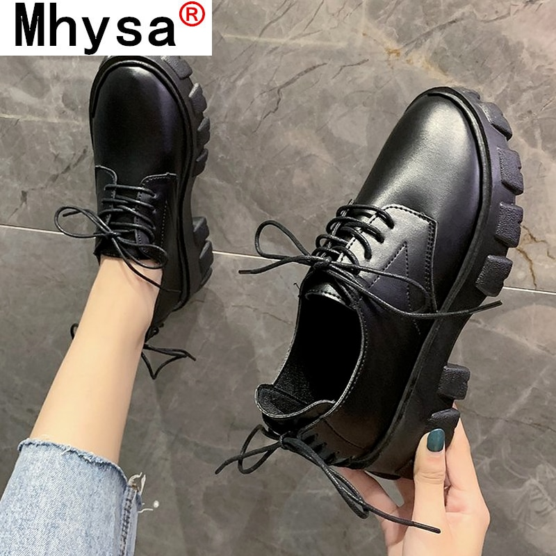2021 Autumn New Leather Ankle Oxford Shoes for Women Fashion Comfortable Lace Up Round Toe Platform
