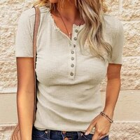 2021 summer casual knitted short sleeved women solid color o neck top t shirt womens pullover button vintage tee shirt mujer