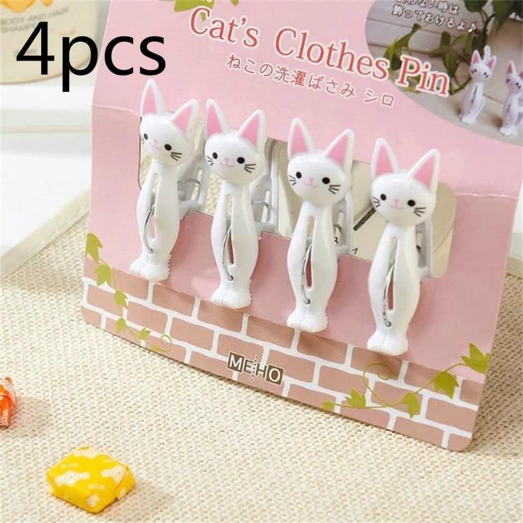 4 unids/lote creativo pinzas de ropa de plástico lindo gato ropa colgando ropa pines Toalla de playa Clips pinza de pinzas