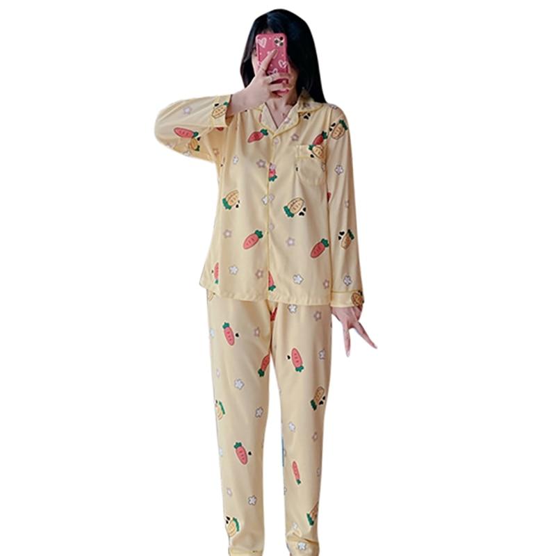Women's Sleep & Lounge New Cardigan Lapel Pajamas Casual Women's Home Service Two-Piece Suit