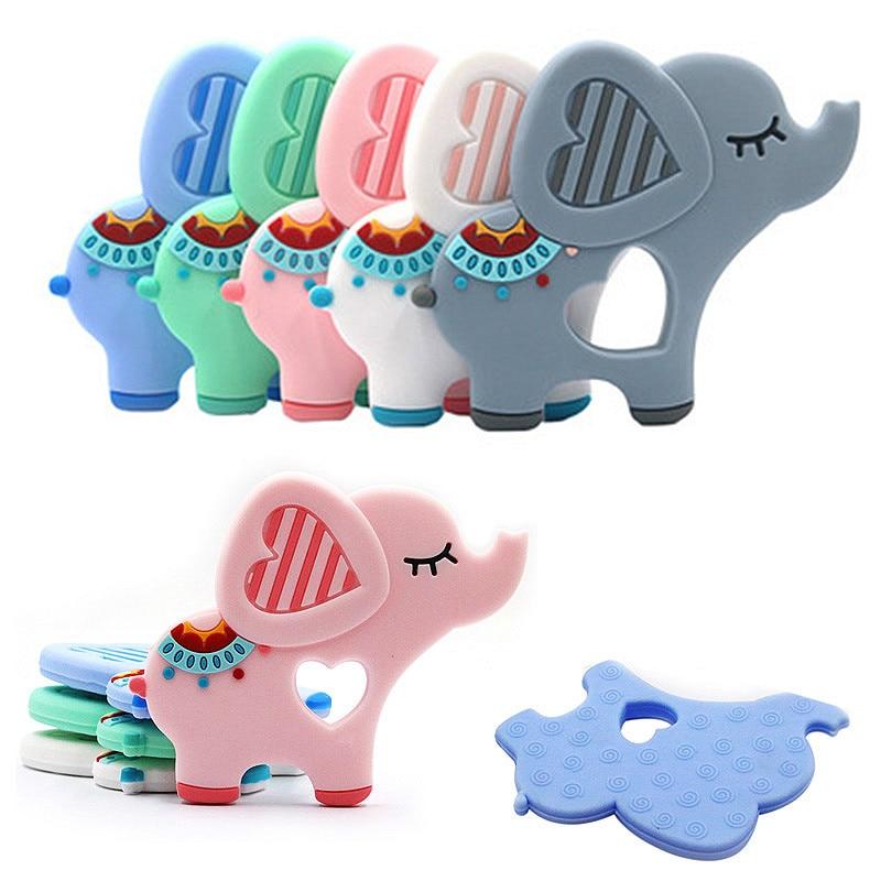 Пищевого силикона прорезыватель DIY животных Слон ребенка прорезыватель для младенцев силиконовые Подвески Дети Прорезыватель подарок игрушки для малышей