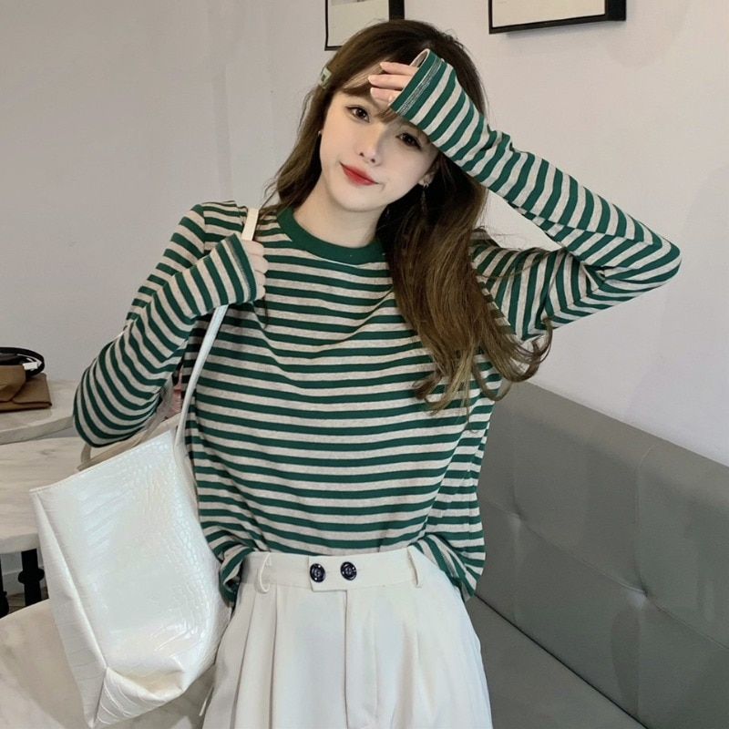 Spring 2021 New Korean Style Contrast Color Striped Sweater Women's Western Style All-Match round Ne
