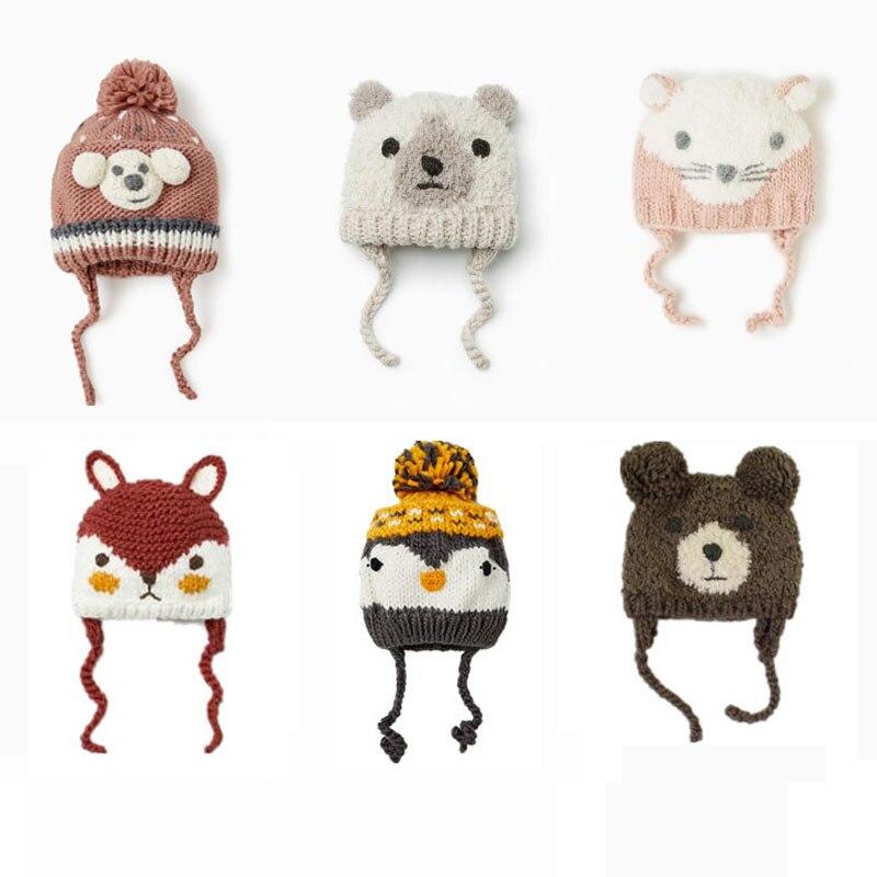 Baby Cute Cartoon winter hat Rabbits foxes bear Hat Knitted 2019 Winter Toddler Girl Boy Warm Cap
