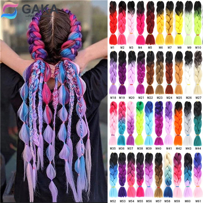 GAKA Women Long Ombre Glowing Twist Synthetic Braiding Hair Extension 24 Inch Jumbo Braids Pink Blon
