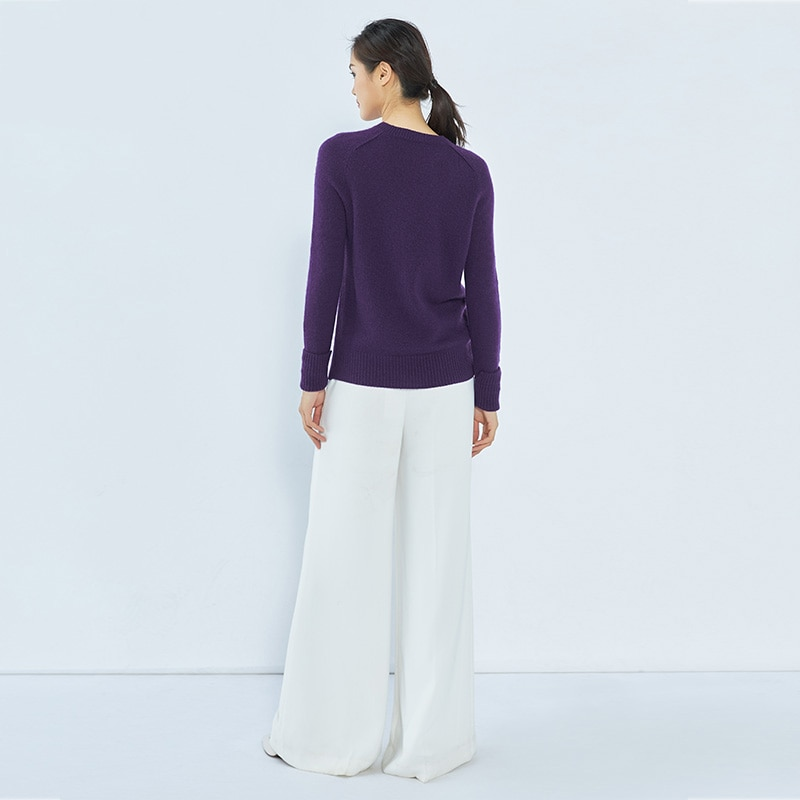 Tailor Shop Custom Made Low Round Neck Cashmere Sweater Women Thick Long Sleeve Knit Sweater enlarge