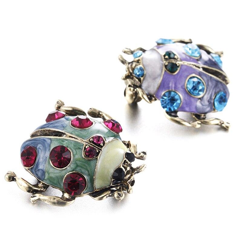 Broche de mariquita de diamantes de imitación Vintage joyería broche de Animal pines para mujer moda mujer fiesta bufanda Clip