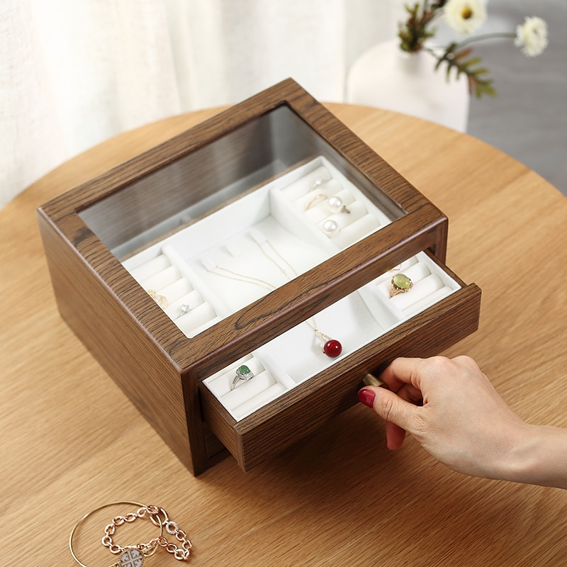 Casegrace Large Wooden Jewelry Box Organizer With Drawer Glass Display Wood Earring Ring Necklace Jewellery Storage Case Casket
