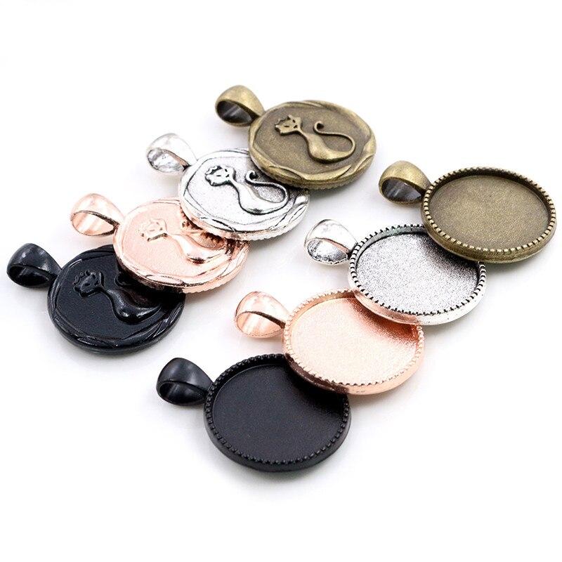 10 pièces 20mm taille intérieure Antique argent couleur noir Bronze Rose or couleur chat Style Cabochon réglage de la Base pendentif à breloques