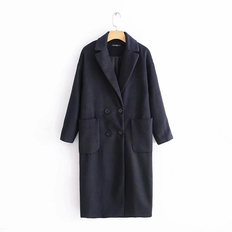 Invierno 2018 nueva moda Nary azul mujeres abrigo Casual femenino suelta doble pecho prendas de vestir elegante largo abrigo mujer invierno