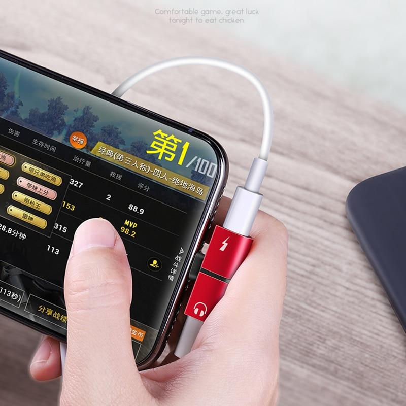 Para iPhone 7 8 Plus X XS Audio de carga Dual adaptador Splitter Cable para Lightning Jack a auriculares AUX Cable conector convertidor