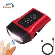 Luz LED COB con Sensor de ondas de mano, faro delantero IPX5 impermeable, lámpara de cabeza para correr de noche