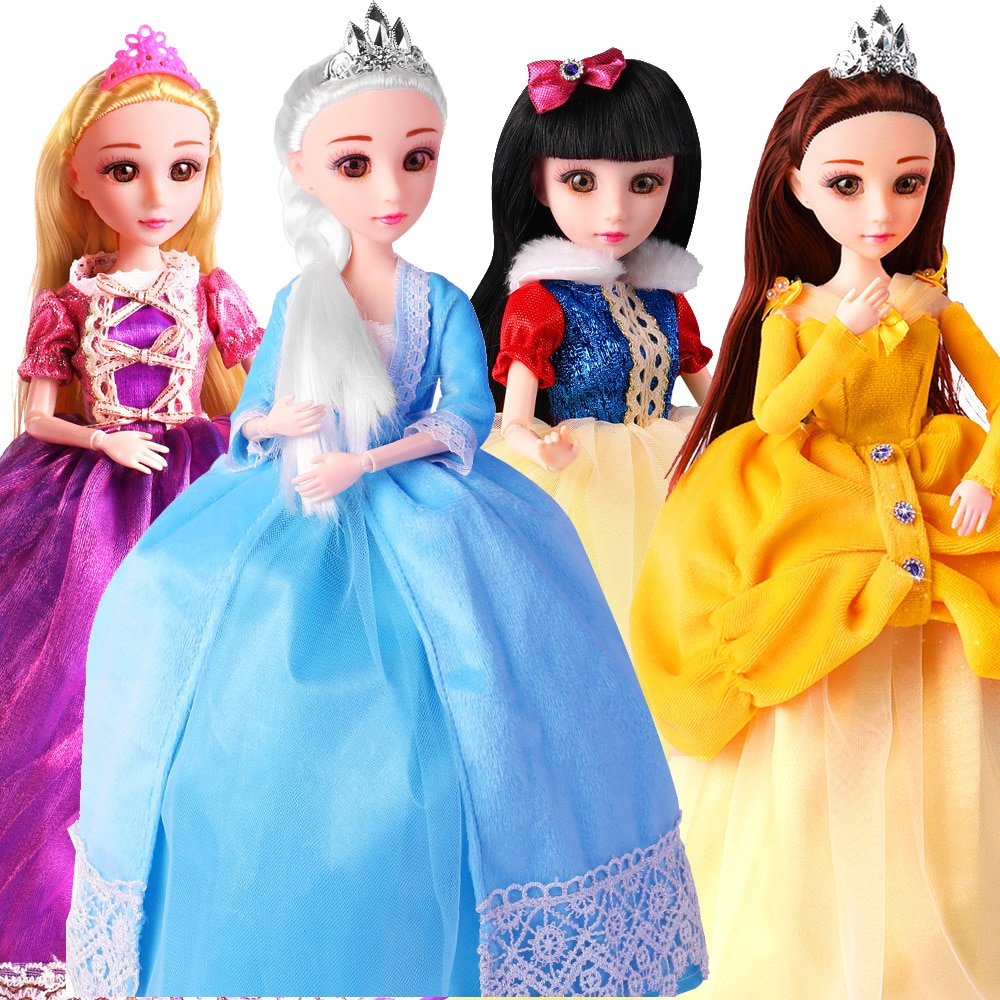 30cm Barbie Princess Doll Set 12 Jonits Hinged Moving Toys Girls Blonde Hair Doll For Kid Braided Hair Toy For Christmas Gifts