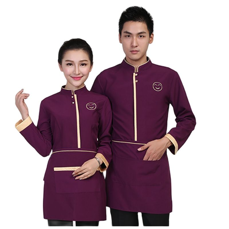 Рабочая одежда для официанта с длинными рукавами для ресторанов и отелей, осенняя и зимняя одежда для китайского ресторана