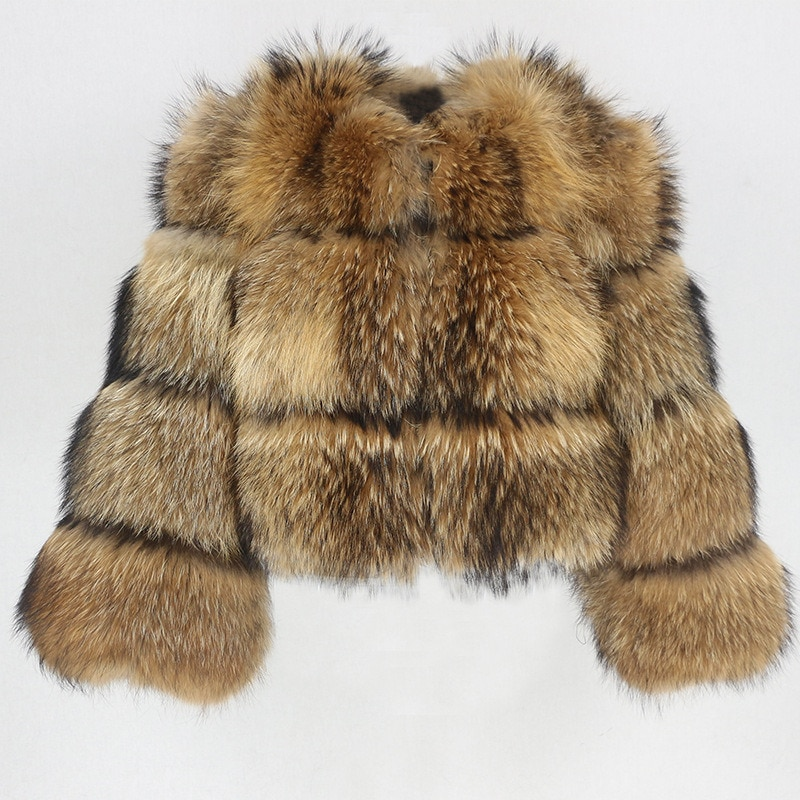 Winter Fake Raccoon Fur Jacket Women Fluffy Faux Fur Coat Brown Thick Warm Outerwear Fashion Overcoat 2021 New Casaco Feminino