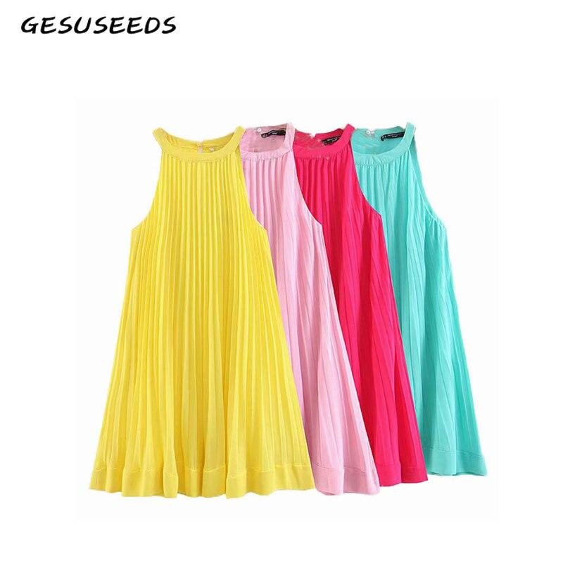 Gelb rosa sexy kleid elegante strand kleid mini plissee kleid für frauen sommerkleid Sommer kleider 2019