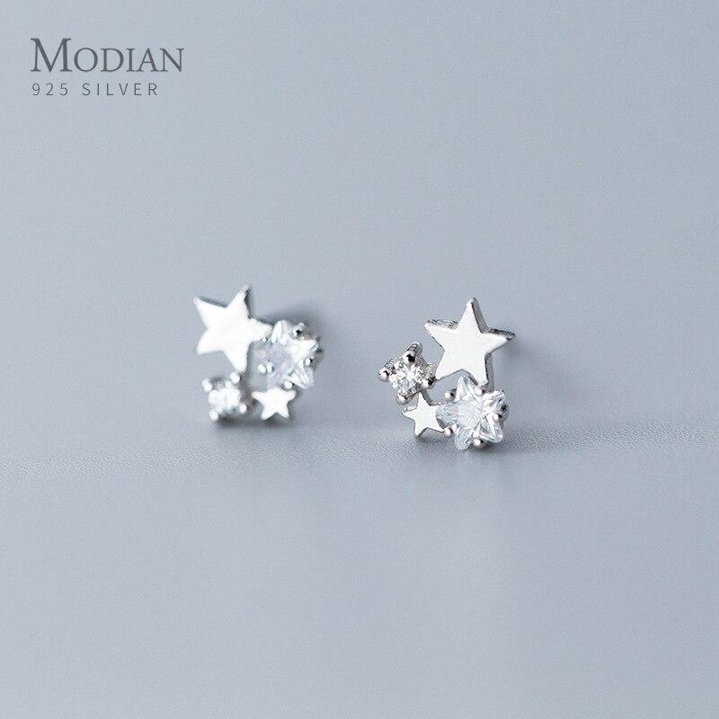Modian nouveau 100% réel 925 Stelring argent charme étoiles clair Zircon boucles doreilles broche pour les femmes 925 en argent Sterling bijoux cadeau