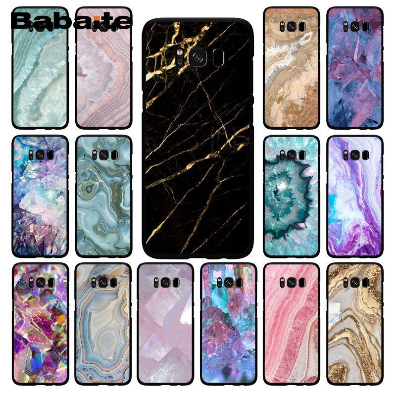 Babaite azul rosa púrpura piedra preciosa ágata mármol cristal PhoneCase para Samsung Galaxy S20 S10E S20 S7 S9 S8 S10plus S6 S10Lite S5
