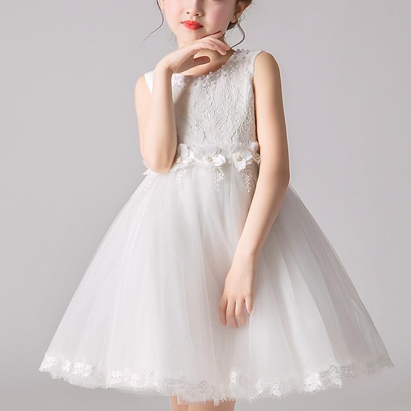 Kids Girls' Dress Wedding Party Clothes Flower Beading Gown Princess Summer Girls Frock Costumes Children's Elegant Dress