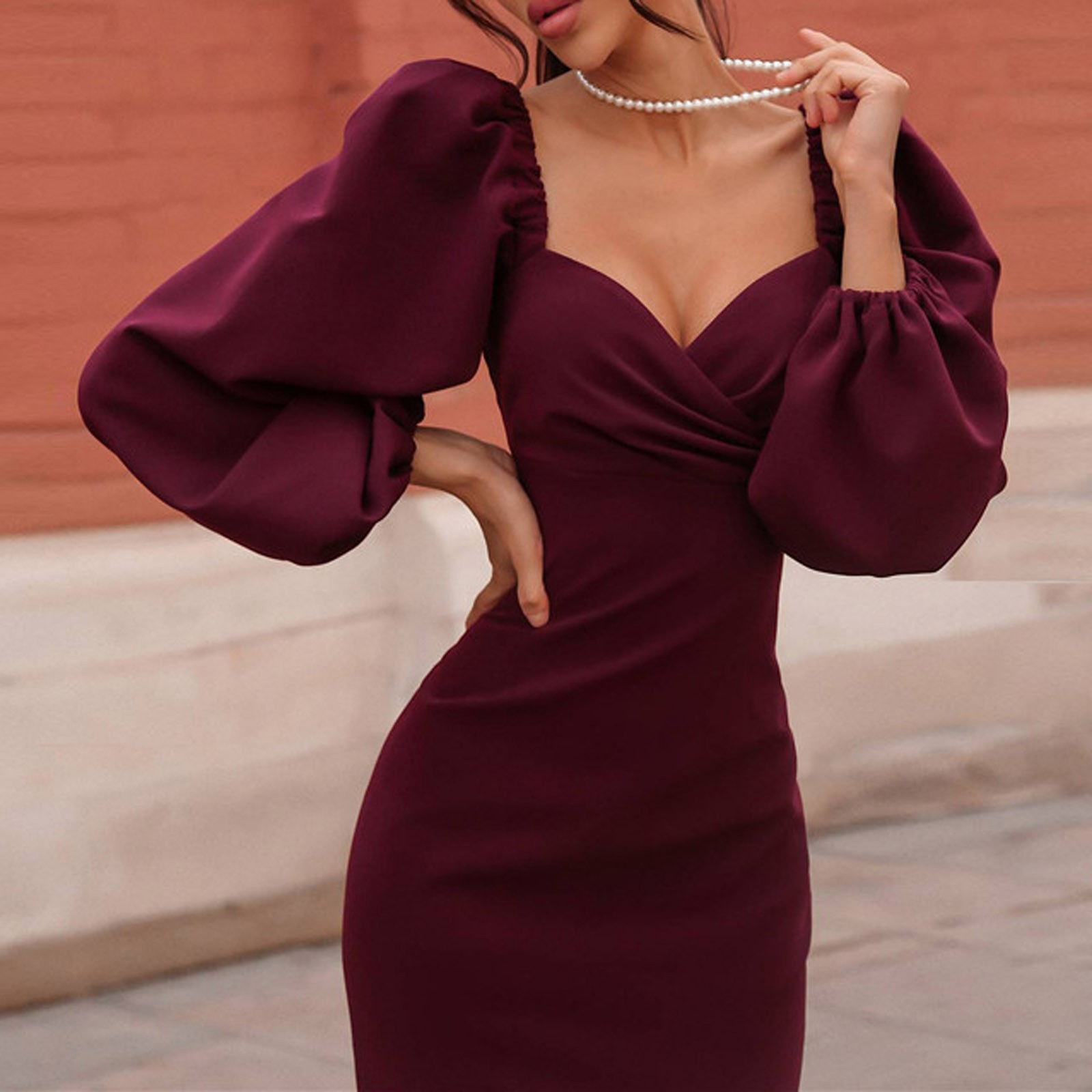 SAGACE Sexy Women Dress Puffy Sleeves V-neck Temperament Sexy One-shoulder Dress Prom Cocktail Party