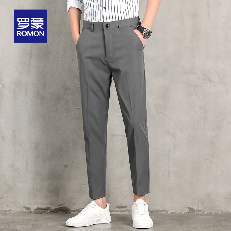 Spring and Autumn Small Suit Pants Men's Leisure Suit Trousers Korean Style Straight Loose Skinny Cropped Suit Pants