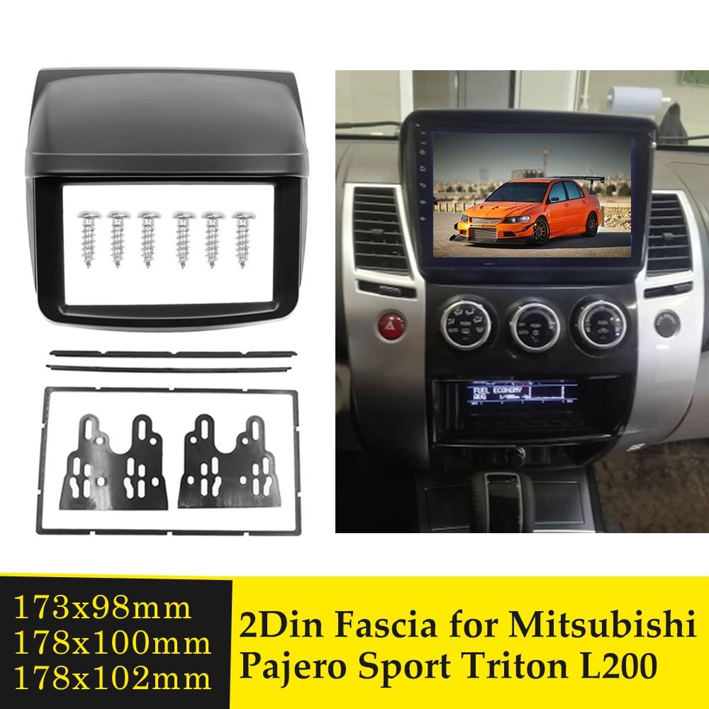 Doble Din Car Fascia para Mitsubishi Pajero Sport Triton L200 Radio de Audio Marco de Panel Dash Kit de ajuste instalar Facia placa