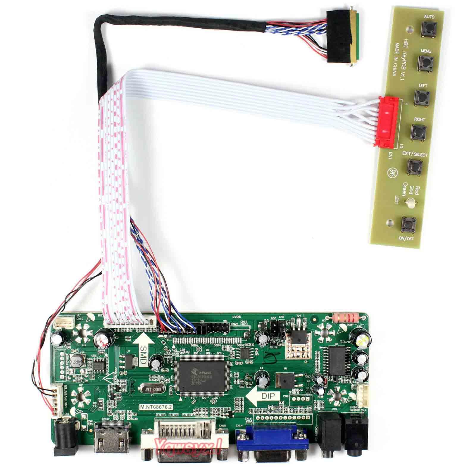 Yqwsyxl Kit de Monitor de tablero de Control para B140XW03 V0 V.0 HDMI + DVI + VGA LCD controlador de pantalla LED