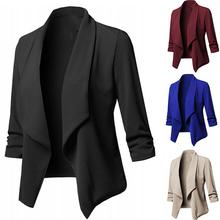 2020 High Quality Fashion Women Autumn Plus Size Solid Color Slim Blazer Lapel Open Front Slim Short
