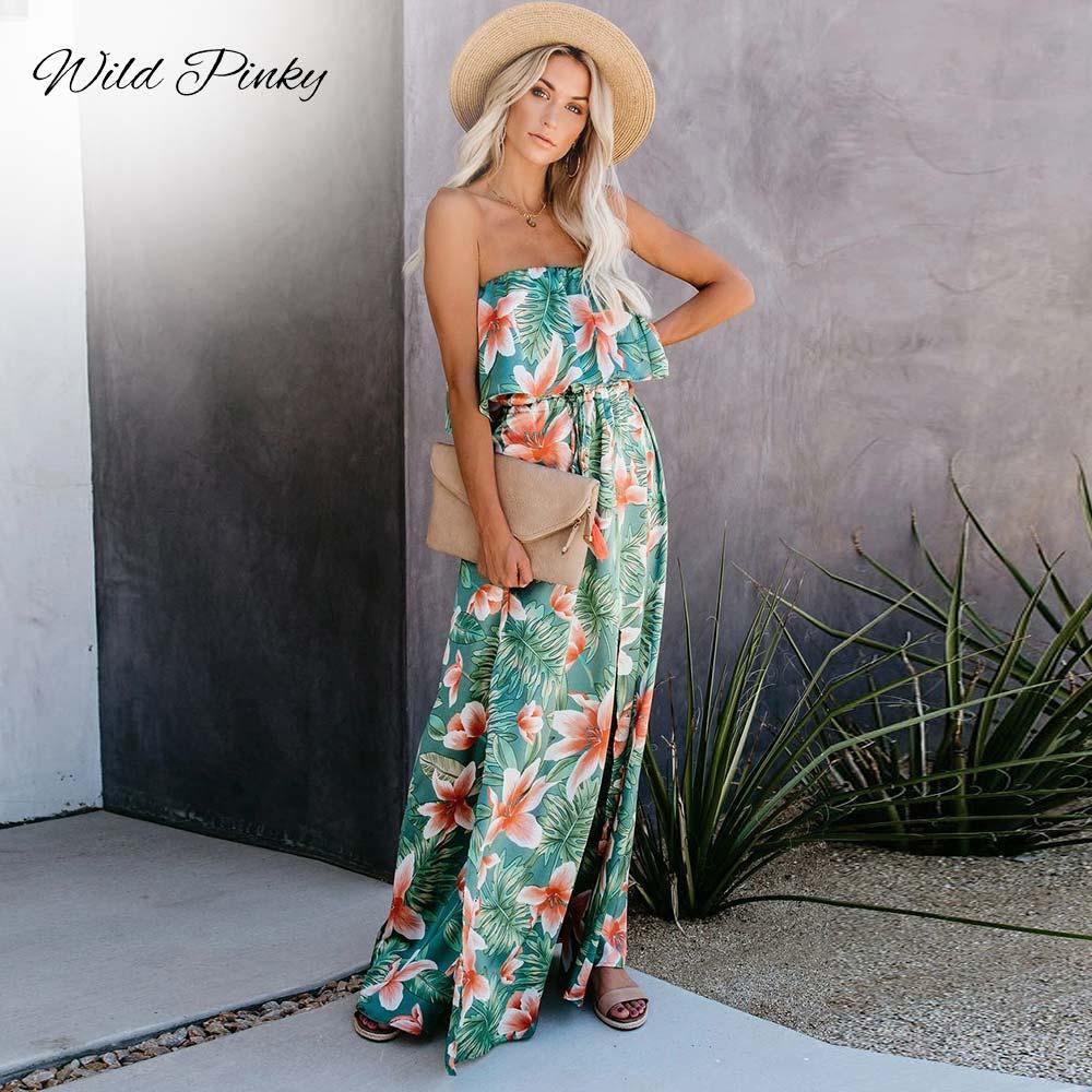 AliExpress - WildPinky 2020 Tropical Rainforest Printed Dress For Women Off Shoulder Split Sleeveless Summer Hoilday Beach Casual Sundress