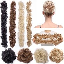 Moño de pelo sintético de 80cm, banda elástica, redecilla recta Updo, pelo falso Natural de fibra de alta temperatura